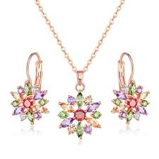 rose zircon necklace images 2018 new design fashion jewelry aaa zircon stones colorful flower jpg