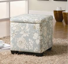 flower pattern fabric modern storage ottoman w wood legs
