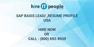 Sap Basis Resume Sample by Sap Basis Lead Resume Profile Hire It People We Get It Done