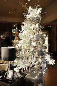 contemporary white tree with hanging ornaments green