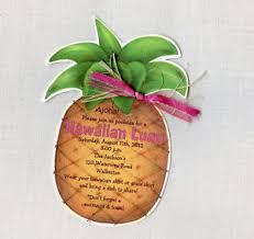 pineapple hawaiian luau birthday party invitations personalized