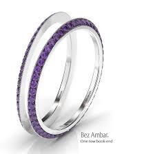 Diamond Sapphire Wedding Ring by White Diamonds Bookend Ring Enhancers