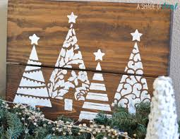 diy christmas tree glitter sign with cutting edge stencils