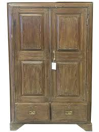 Tv Armoire With Doors And Drawers Vintage British Colonial Teak Almirah Rustic Old Wood Armoire