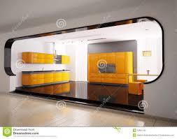 high spec designer kitchen in metal blue stock photography image