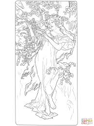 spring by alphonse mucha coloring page free printable coloring pages