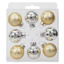 buy the gold silver mini glass ornaments by celebrate it at