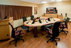conference table with recessed monitors hd conferencing teleconferencing tables and telepresence tables