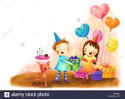representation of children celebrating birthday stock photo
