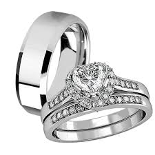 Sterling Silver Wedding Ring Sets by His Hers 3 Pcs Tungsten Matching Band Women Heart Cut Sterling