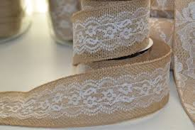 burlap and lace ribbon 4 yd roll of burlap and lace ribbon 2 5 inches diy wedding bows