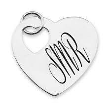 engraved charms heart on heart in sterling silver lizzy engravable charms