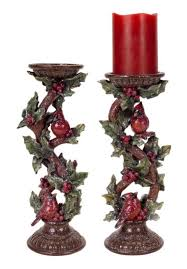 set of 2 cardinal and holly leaf candle holder christmas