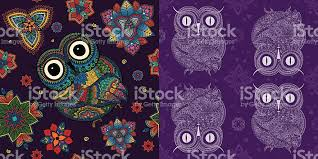 set of ornamental owls with mandala flowers and owl patterns stock