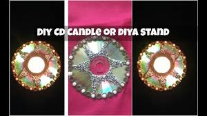 candle stand or diya stand using waste cd diy candle holder