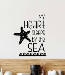 Bedroom Wall Stickers Sayings Amazon Com Wall Decal My Heart Sleeps By The Sea Cute Vinyl Wall