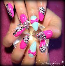 pink almond nails pink crystal overload love it