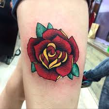 tattoos for women s thighs neo traditional rose done by me david pearson at filthy family