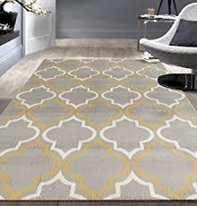 amazon com rugshop moroccan trellis contemporary gray yellow 7 u002710