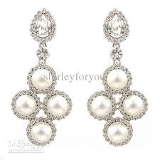 pearl dangle earrings pearl dangle earrings with aaaa crystals clear white ba 108
