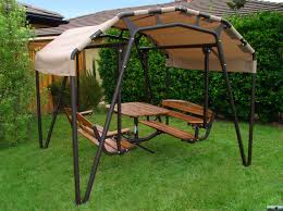 stunning 3 person patio swing with canopy bronze finish powder