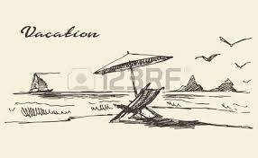 beautiful hand drawn vacation poster with seaside view and beach