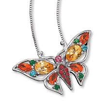 kay jewelers charmed memories kay topaz butterfly necklace multi cut sterling silver