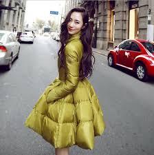 womens lady fashion bubble skirt dress coats winter duck down