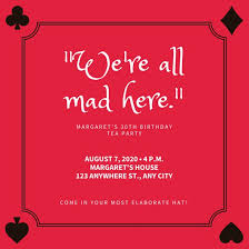 red card suits border mad hatter tea party invitation templates