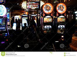 slot machines in the casino excalibur editorial stock photo