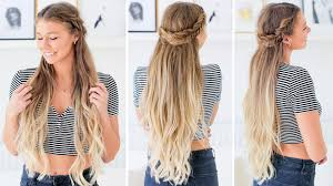 fishtail half updo hairstyle luxy hair youtube