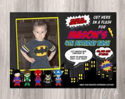 super hero invites etsy