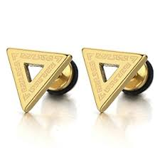 triangle stud earrings stainless steel mens gold triangle stud earrings with