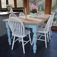 chilmark table with hoop back chairs hand painted by rectory blue