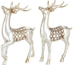 set of 2 11 antiqued deer figurines with braided rope accents