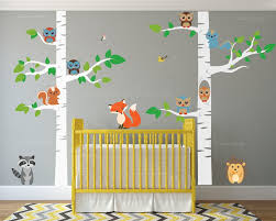 Tree Wall Decals Nursery by Innovative Stencils 12 Piece Birch Tree Nursery Wall Decal Set