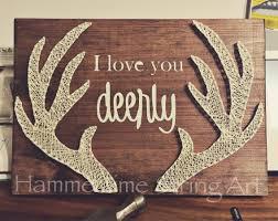 i love you deerly antlers string art decor string art