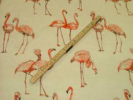 Animal Print Upholstery Fabric Flamingos Vintage Linen Look Animal Print Designs Curtain