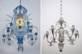 chandeliers constructed from recycled plastic pet bottles by