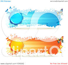 clipart blue and orange streak banners with butterflies and