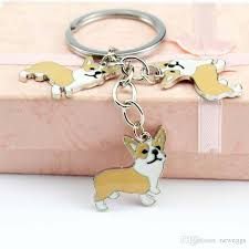 Wholesale Brand Metal Pet Key Chain Welsh Corgi Dogs Key Ring Bag