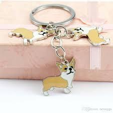Wholesale Brand Metal Pet Key Chain Welsh Corgi Dogs Key Ring Bag