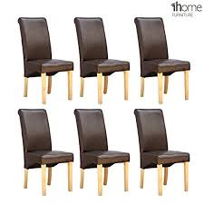 1home 6 x leather brown dining chair w oak finish wood legs roll top