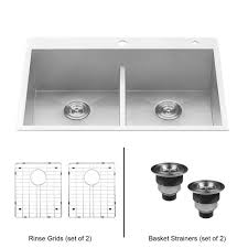 Top Mounted Kitchen Sinks by Ruvati 33 In Double Bowl 50 50 Low Divide Drop In 16 Gauge