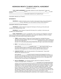 Letter Of Intent Sample For Renting Space by Free Nebraska Month To Month Rental Agreement Form Pdf Word