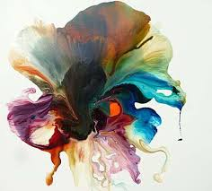 an image of an abstract painting of a flower in rich oil colours