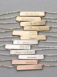 personalized silver bar necklace gold or silver bar necklace personalized name necklace custom