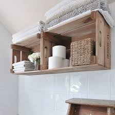 ideas for bathroom shelves easy storage ideas wooden crates crates and towels