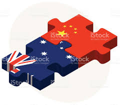 Flags In Australien Und China Flags In Puzzle Vektor Illustration 472904980