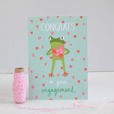 tropical frog engagement congratulations card by hannah stevens